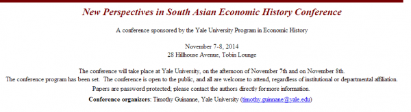 Conference Announcement: New Perspectives in South Asian Economy History